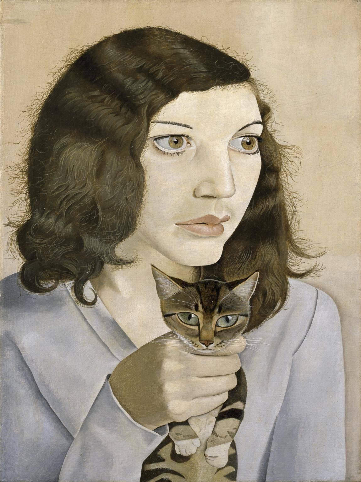 Люсьен Фрейд. Девушка с котенком, 1947. Масло, Холст. Галерея Тейт
