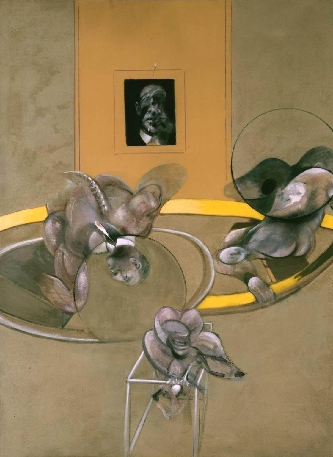 Фрэнсис Бэкон. Три фигруы и портрет, 1975. Масло, Пастель, Холст. Тейт Модерн