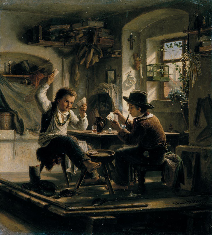 Эдуард Штеффен. Игра в карты. 1863