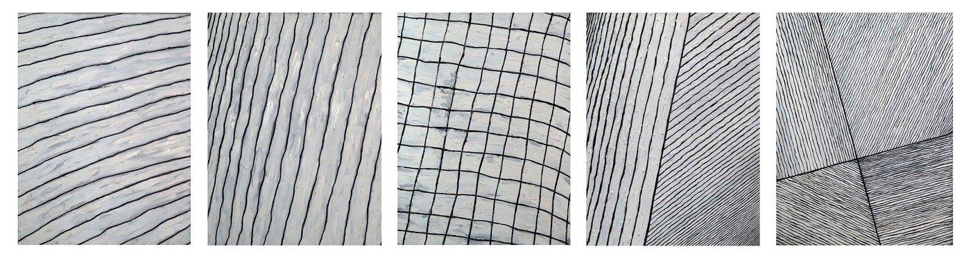 Александр Юликов. Черно-белая композиция, 2011. Пятичастная композиция. Холст, масло, 80х60 каждая из частей