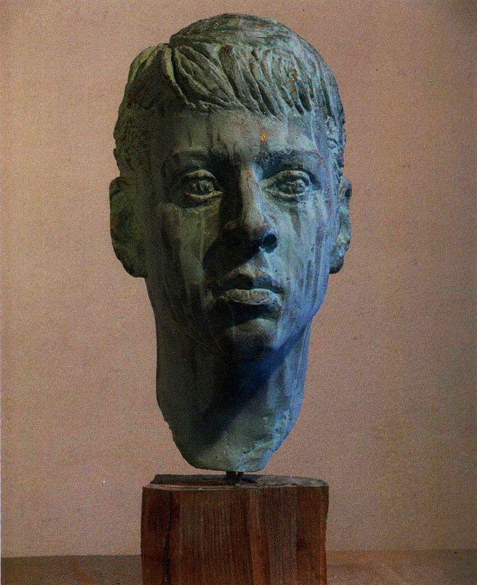 В.В.Тишин. (1963-2015). Портрет О.Слепова. 20013. Гипс тонир. 55х30х24