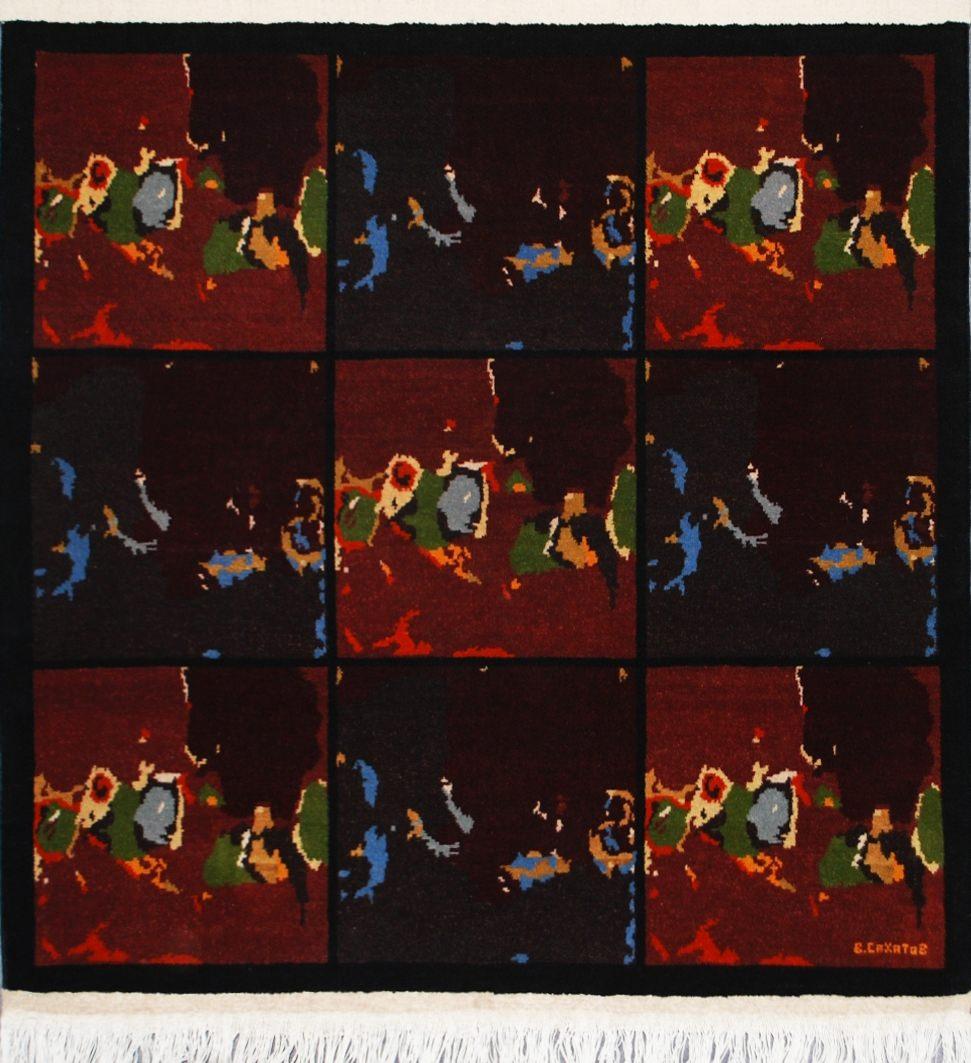 По мотивам картин Валерия Сахатова. Авторский ковер. Туркмения. ТЕККЕ. 2013. Шерсть, ворсовое ткачество, 102х99 (фонд МАРДЖАНИ)