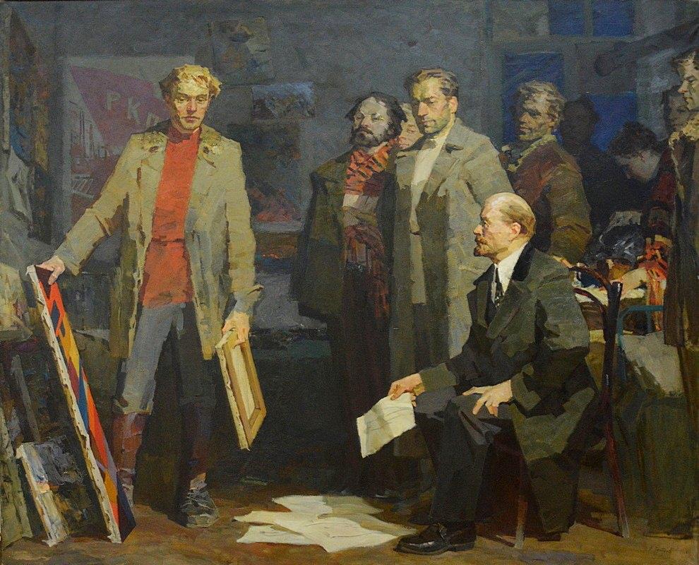 Никита Чебаков. Ленин у художников ВХУТЕМАСа. 1968