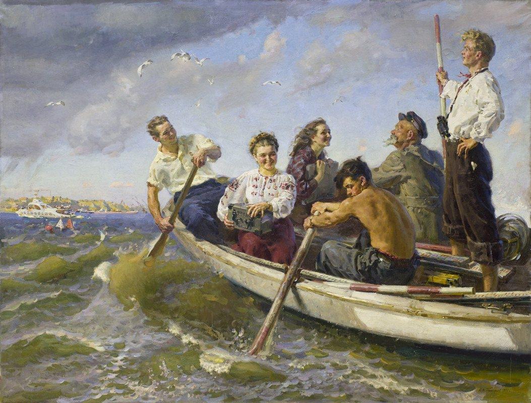 Сергей Григорьев. Энтузиасты Каховки. Холст, масло. 1951