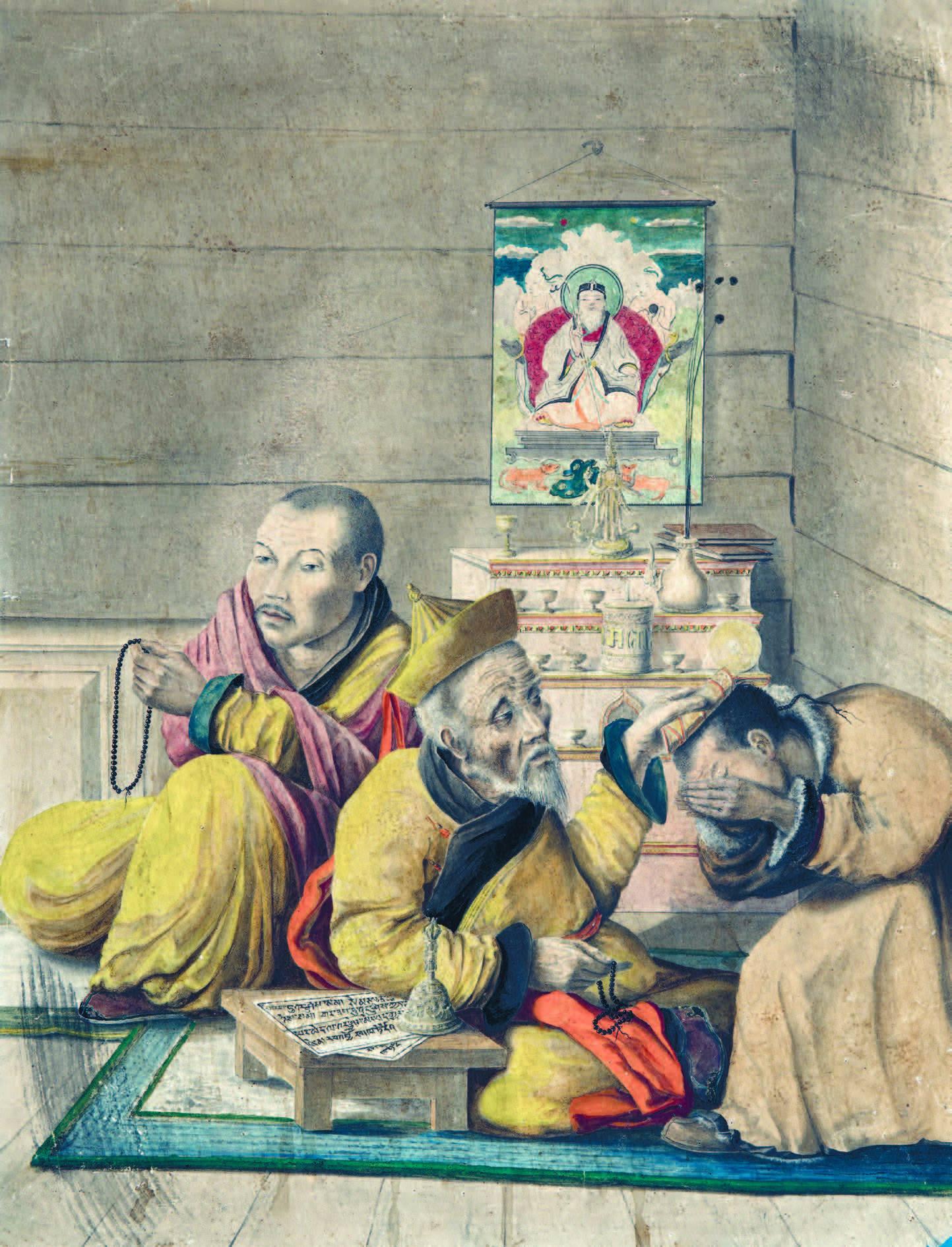 Прокопий Рязанцев. Благословение ламы Шеретуем. 1859. Бумага, акварель
