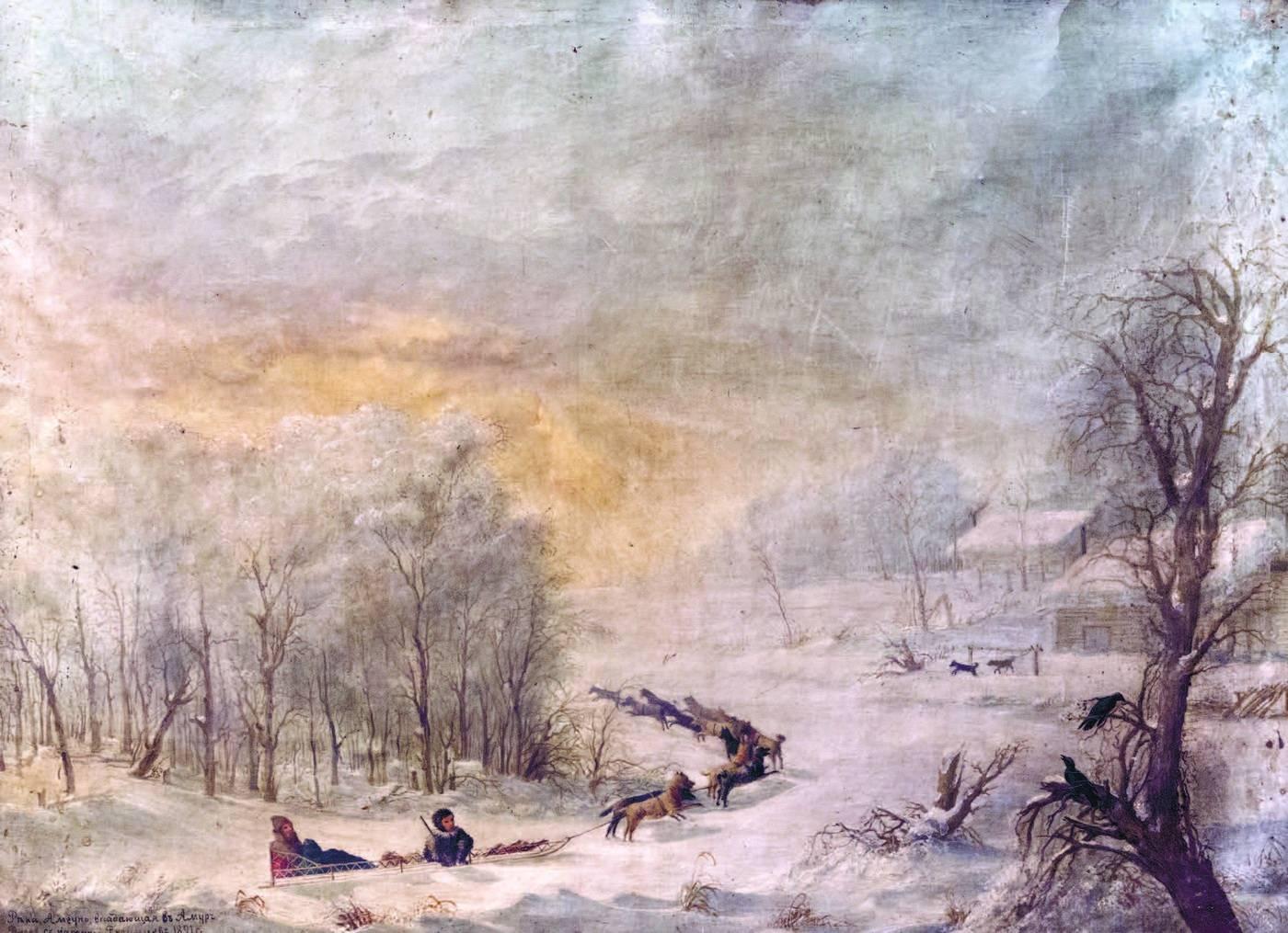 Прокопий Рязанцев. Река Амгунь, впадающая в Амур. 1891. Холст, масло