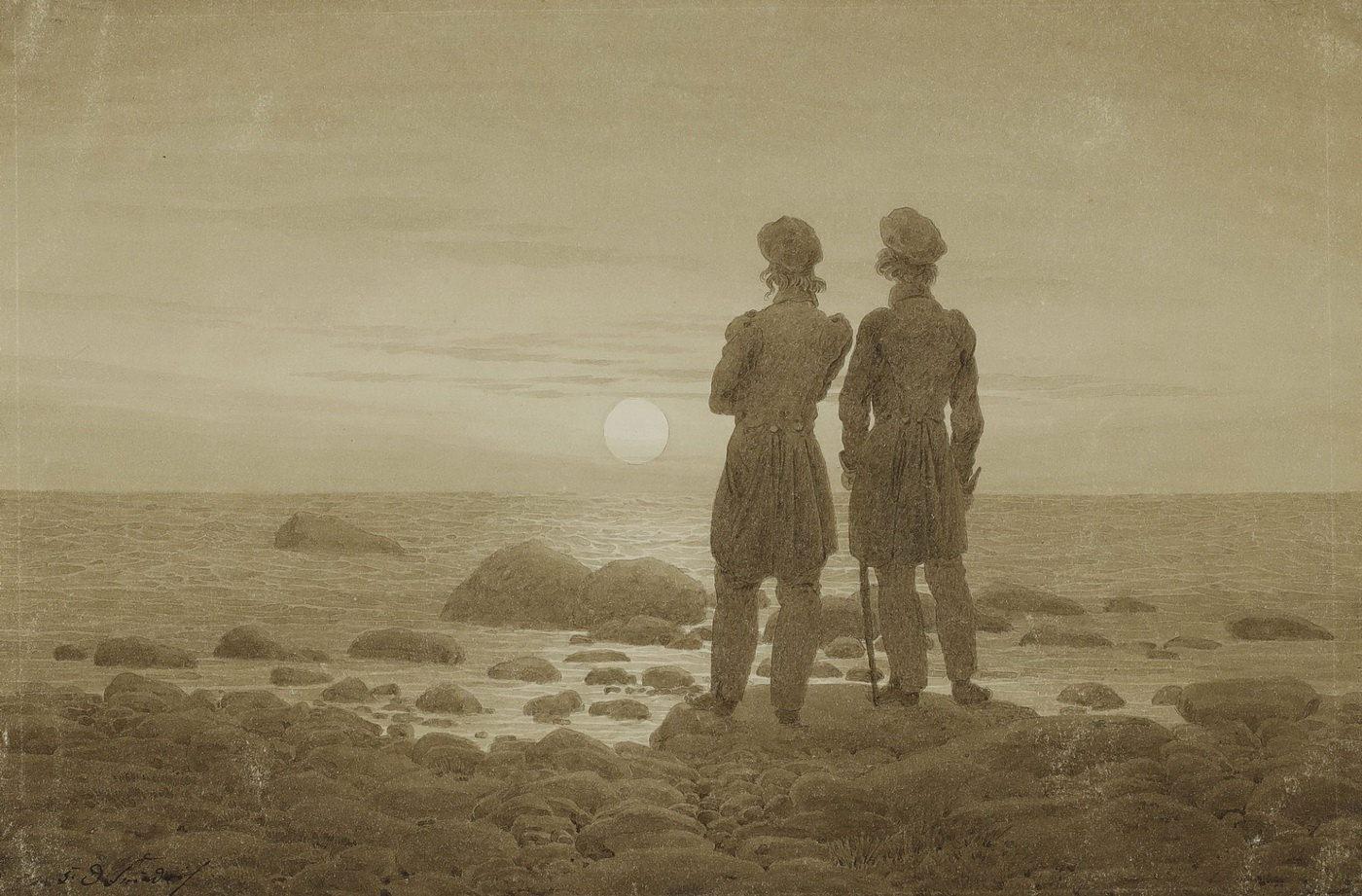 Фридрих Каспар Давид К. Двое мужчин на берегу моря. 1830-1835. ГМИИ им. А.С. Пушкина