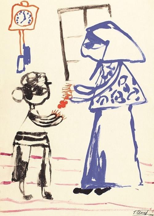 Г.Ингер. Мама дает мне вишенки. Илл. к повести Шолом-Алейхема_Мальчик Мотл_1976 Бум., акв, гуашь