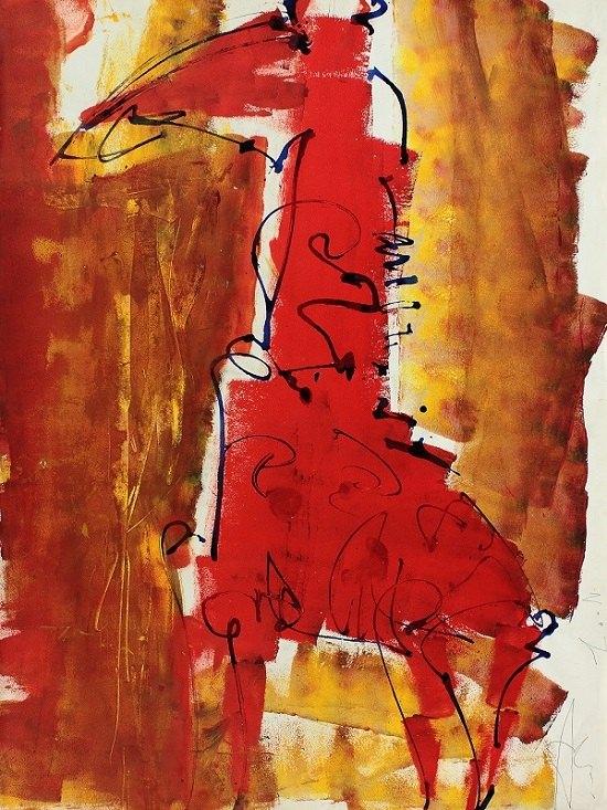Сергей Алфёров. Из серии Жирафы. 2002. Бумага, смешанная техника. 100х73