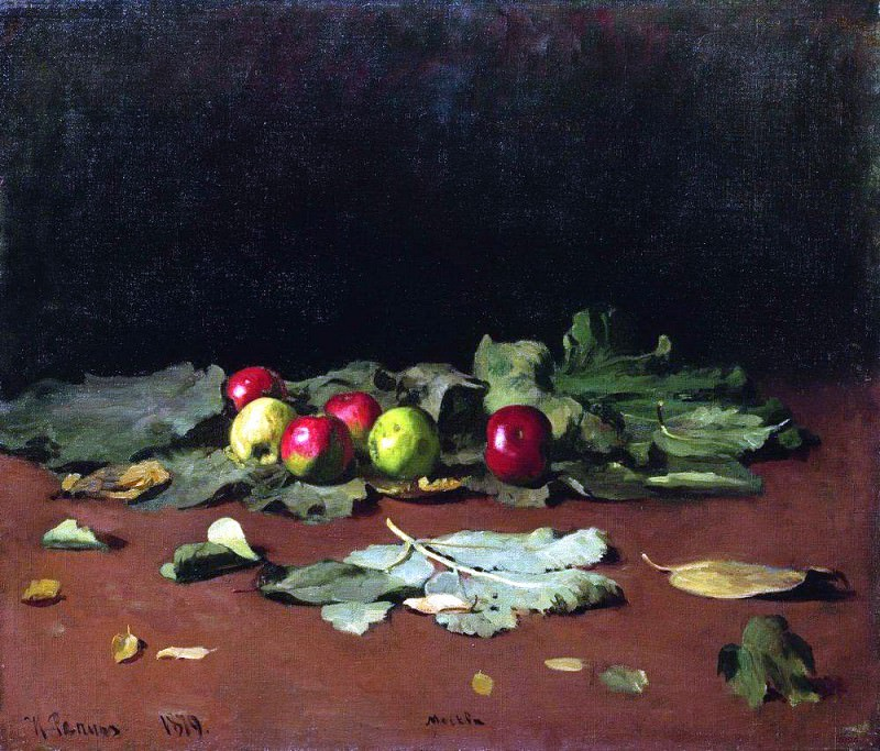 apples and leaves. 1879, Ilya Repin