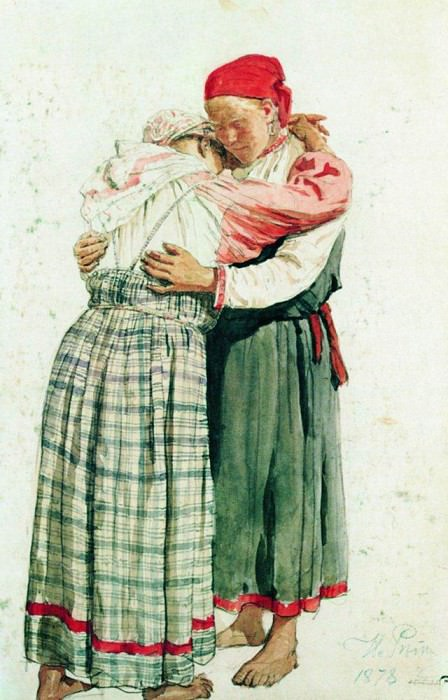 Two female figures embraces peasant. 1878, Ilya Repin