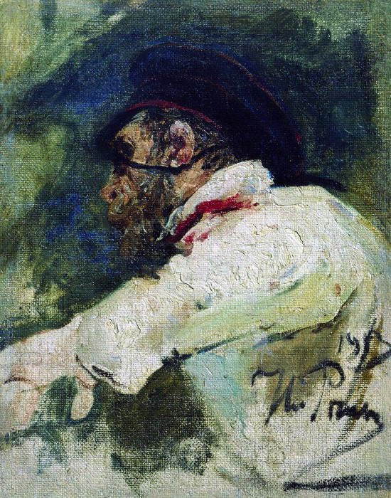 Man in white jacket. 1913, Ilya Repin