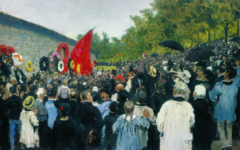 Annual memorial rally at the Wall of the Communards in the Pere Lachaise cemetery in Paris, Ilya Repin