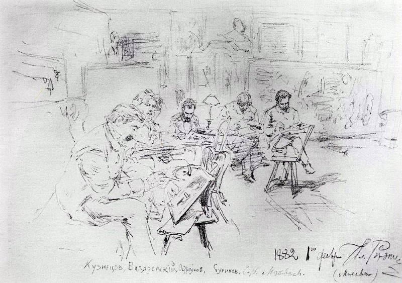 In Repins studio. Drawing evening. 1882, Ilya Repin