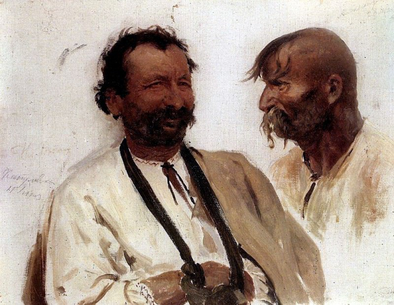 Two Ukrainian peasant. 1880, Ilya Repin