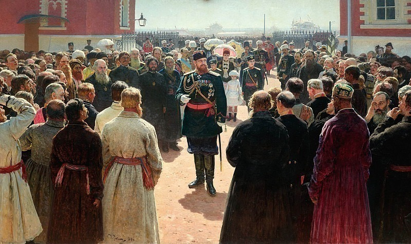 Admission township heads Emperor Alexander III in the courtyard of Petrovsky Palace in Moscow. 1885-1886, Ilya Repin