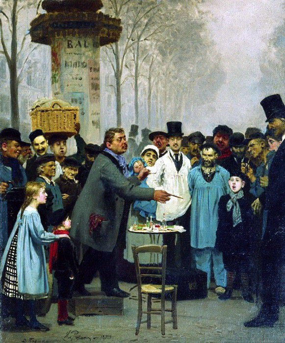 Sold news in Paris. 1873, Ilya Repin