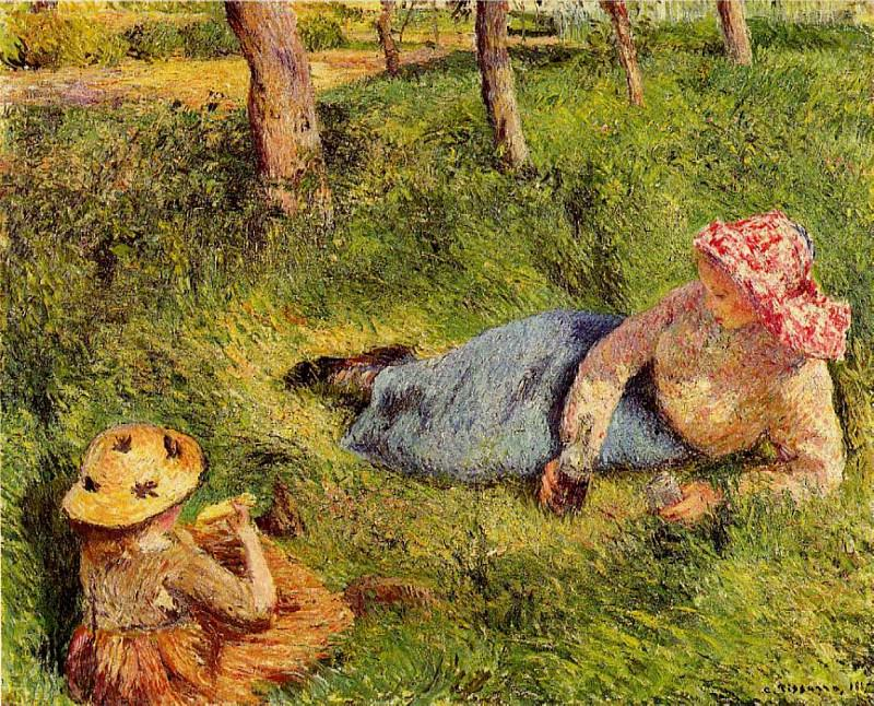 The Snack, Child and Young peasant at Rest. 1882, Camille Pissarro