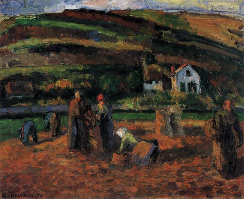 The Potato Harvest. 1874, Camille Pissarro