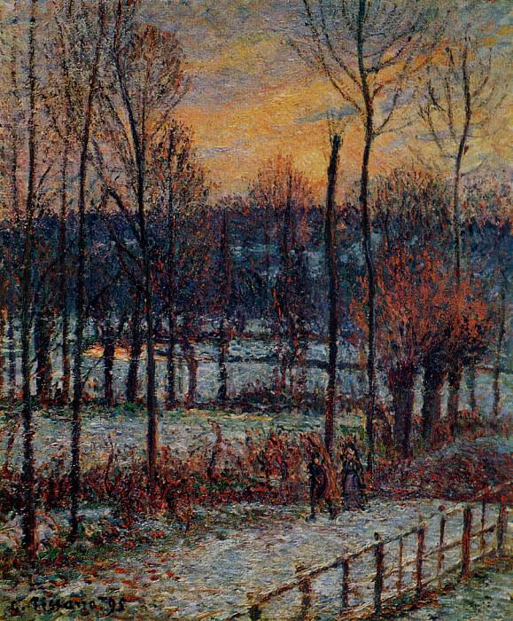 The Effect of Snow, Sunset, Eragny. 1895, Camille Pissarro