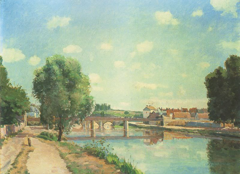 Pissarro The Railway Bridge at Pontoise, 1873, private colle, Camille Pissarro