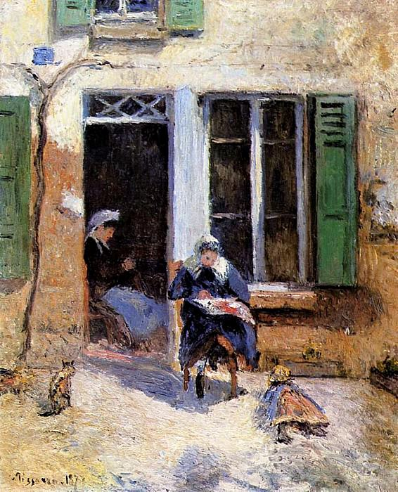 Woman and Child Doing Needlework. 1877, Camille Pissarro