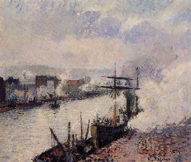 Steamboats in the Port of Rouen. 1896, Camille Pissarro