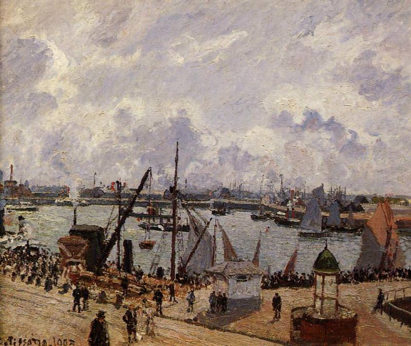 The Inner Harbor, Le Havre - Morning Sun, Rising Tide. 1903, Camille Pissarro