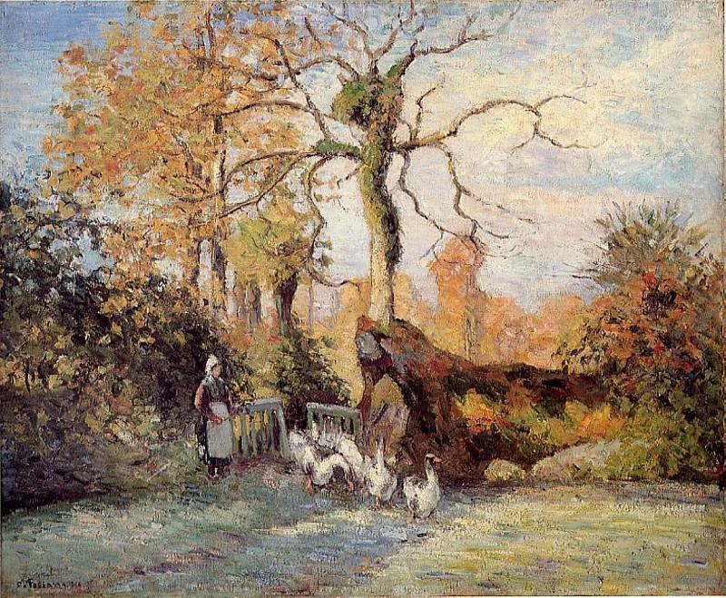 The Goose Girl at Montfoucault, White Frost. 1875, Camille Pissarro