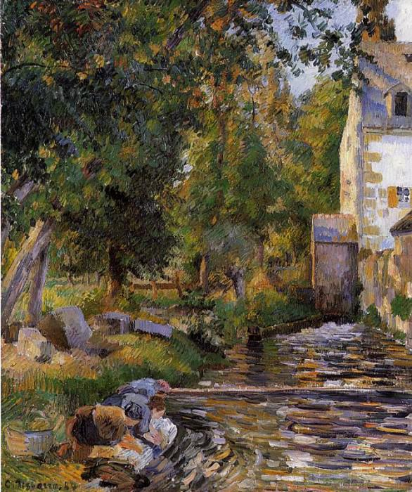 Laundry and Mill at Osny. 1884, Camille Pissarro