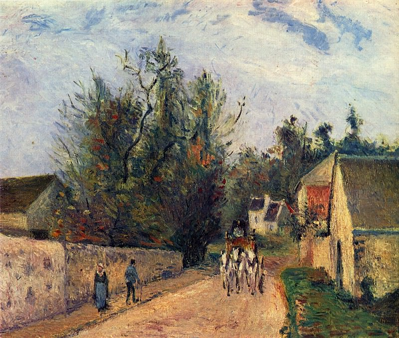 The Stage on the Road from Ennery to lHermigate, Pontoise. 1877, Camille Pissarro
