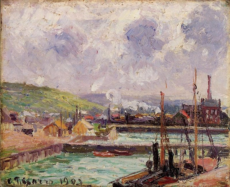 View of Duquesne and Berrigny Basins in Dieppe. 1902, Camille Pissarro