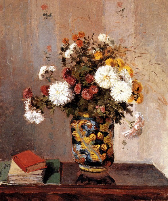 Chrysanthemums In A Chinese Vase, Camille Pissarro