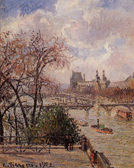 The Louvre, Gray Weather, Afternoon. 1902, Camille Pissarro