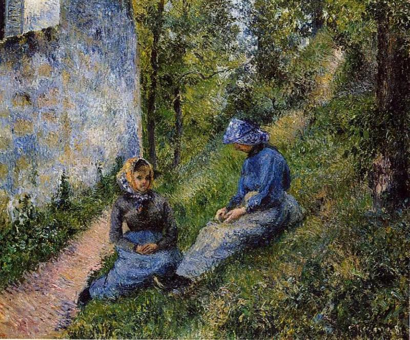 Seated Peasants, Sewing. 1881, Camille Pissarro