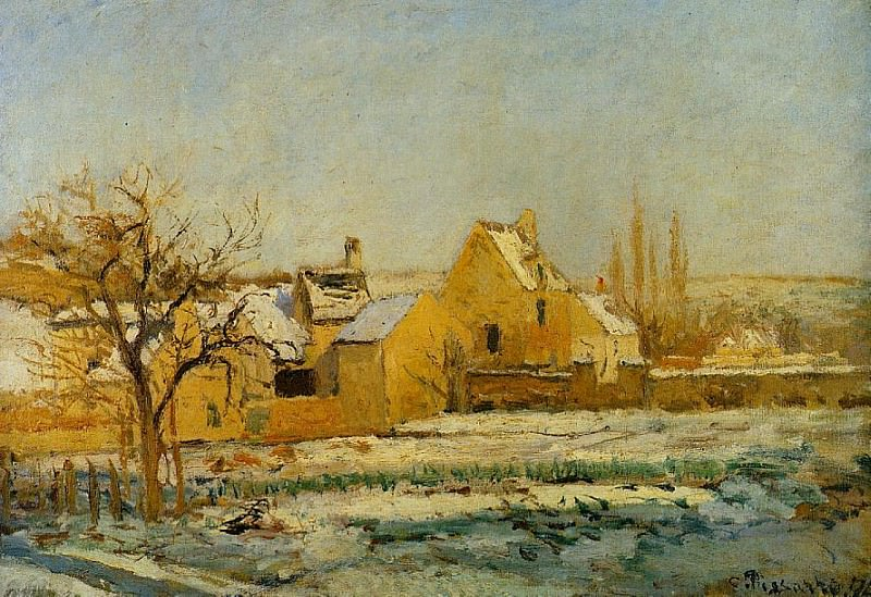 The Effect of Snow at lHermitage. 1874, Camille Pissarro