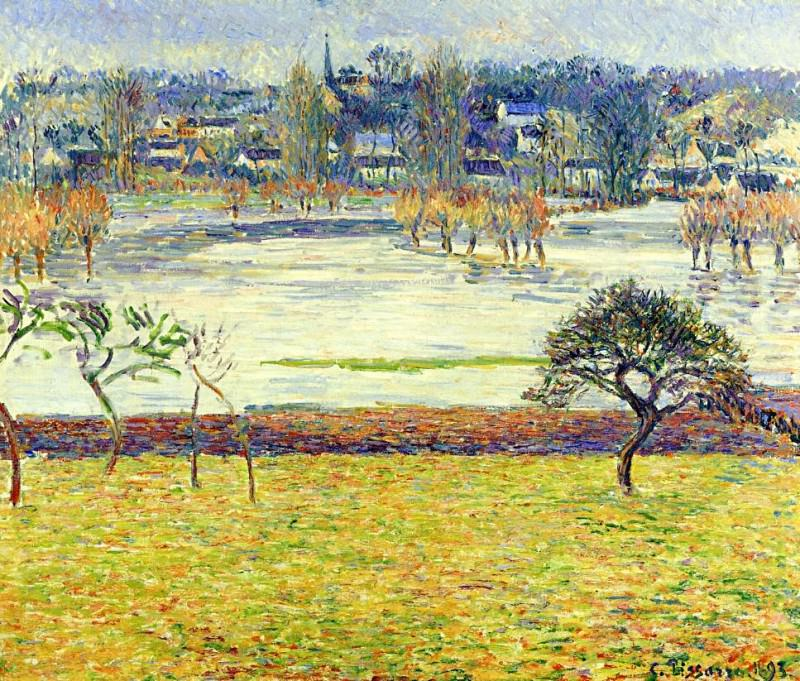 Flood, White Effect, Eragny. 1893, Camille Pissarro