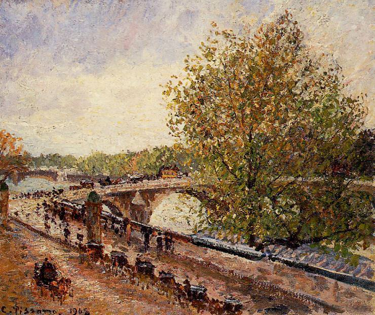 The Pont Royal - Grey Weather, Afternoon, Spring. 1902, Camille Pissarro
