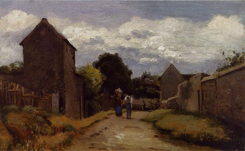 Male and Female Peasants on a Path Crossing the Countryside. 1863-65, Camille Pissarro