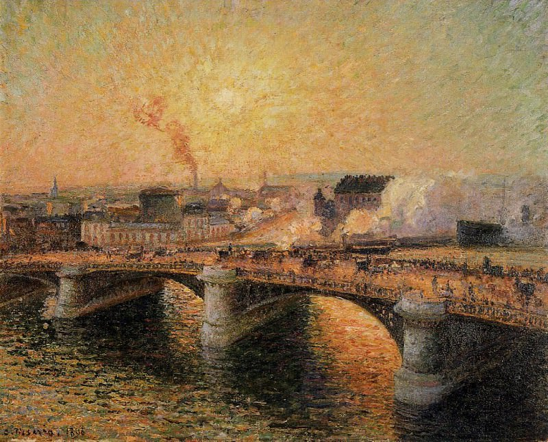 The Pont Boieldieu, Rouen - Sunset. 1896, Camille Pissarro