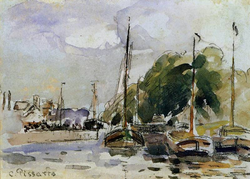 Boats at Dock, Camille Pissarro