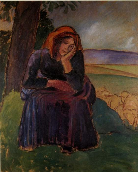Seated Shepherdess. 1892, Camille Pissarro