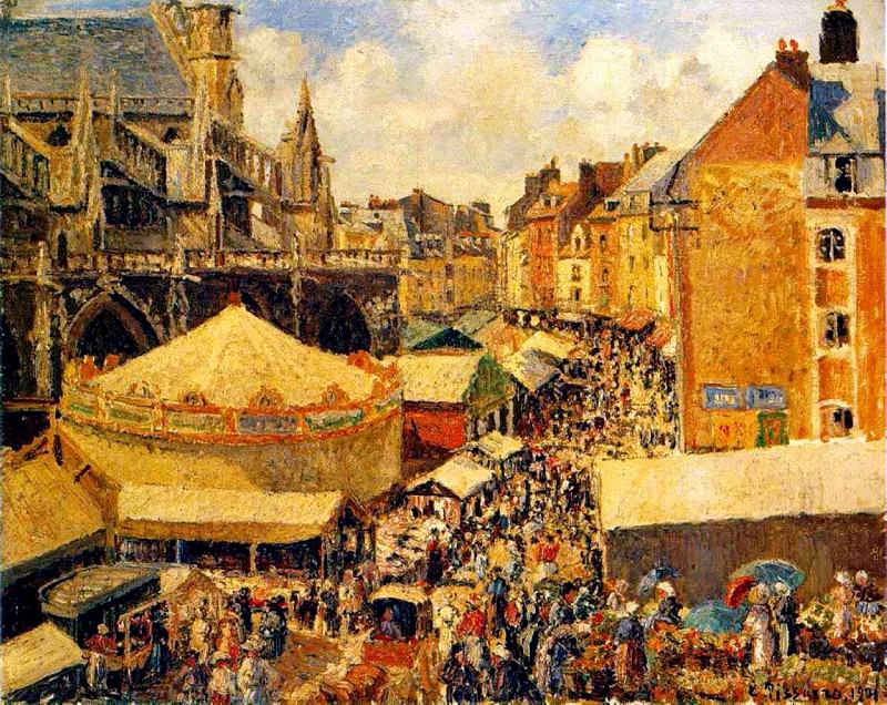 The Fair in Dieppe - Sunny Morning. 1901.jpeg, Camille Pissarro