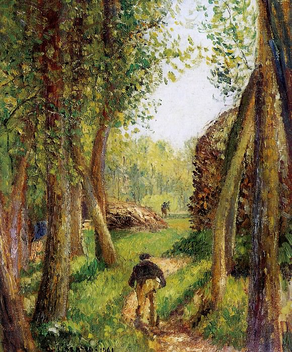 Forest scene with two figures , Camille Pissarro