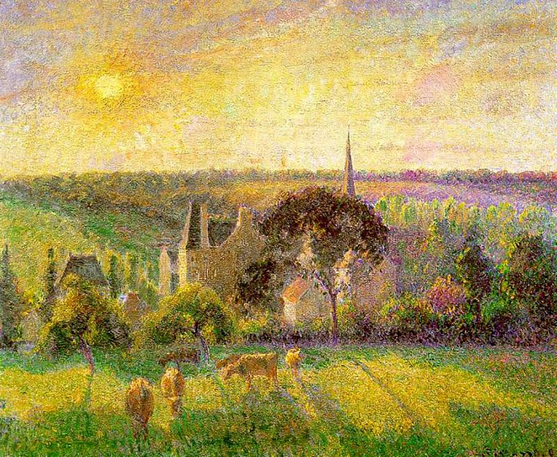 Landscape. Church and Farm in Eragny. 1895, Camille Pissarro