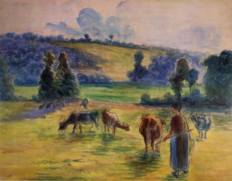 Study for Cowherd at Eragny. 1884, Camille Pissarro