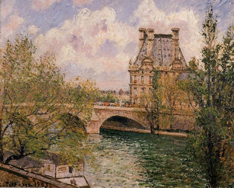The Pavillion de Flore and the Pont Royal. 1902, Camille Pissarro