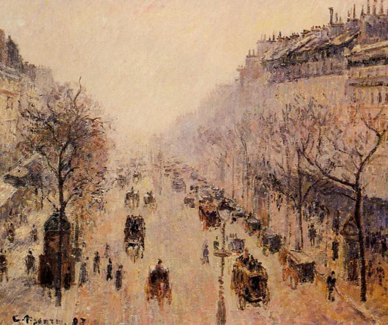 Boulevard Montmartre - Morning, Sunlight and Mist. 1897, Camille Pissarro