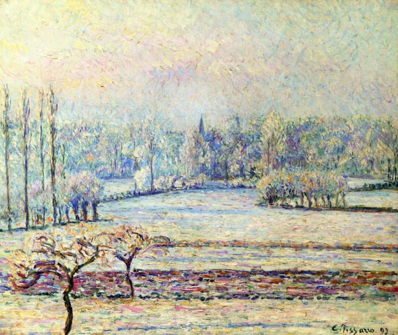 View of Bazincourt, Frost, Morning. 1892, Camille Pissarro