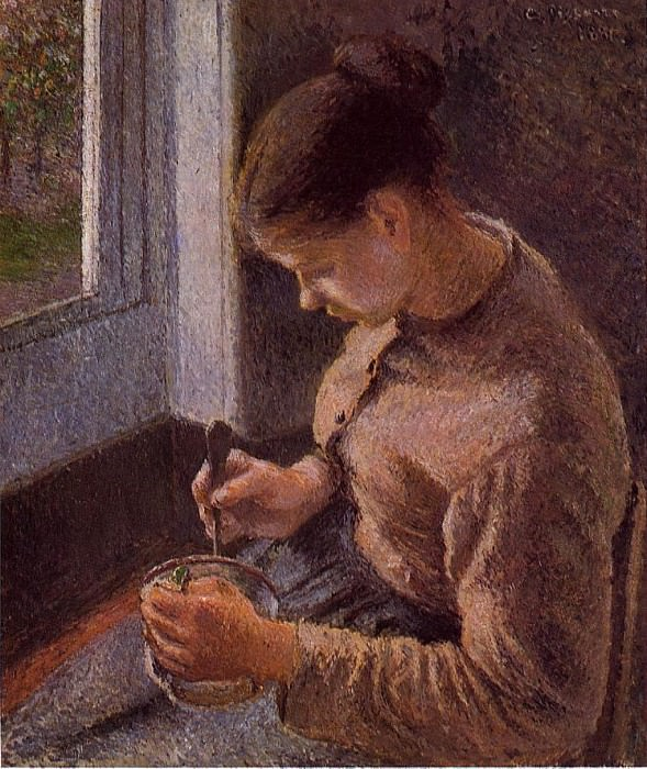 Breakfast, Young Peasant Woman Taking Her Coffee. 1881, Camille Pissarro